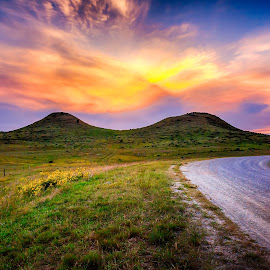 Dog Ear Buttes  by Kendra Perry Koski - Landscapes Mountains & Hills ( 2017, hills, tripp county, dakotawindsphoto.com, back roads, sunflowers, twilight, us, south dakota, winner, cattle, rural, country, local landmark, rolling hills, bule, dog ear buttes, nature, violet, summer, pink, long exposure, september )