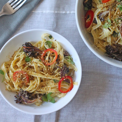 Tagliatelle With Maitake Mushrooms And Pickled Chilies