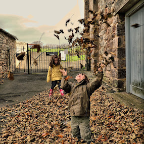 Fall by Paul Stevenson - Babies & Children Children Candids ( autumn, fall, children, leaves, pwcfallleaves-dq )