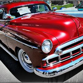 by Tina Stevens - Transportation Automobiles ( car, 1949, vintage, 1940s, colors, automobile, chrome, vehicle, transportation, chevy, colours, twentieth century, red, chevrolet, styleline, auto, 20th century, antique, classic )