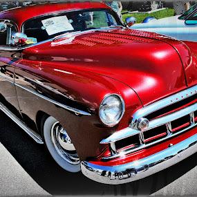 by Tina Stevens - Transportation Automobiles ( car, 1949, vintage, 1940s, colors, automobile, chrome, vehicle, transportation, chevy, colours, twentieth century, red, chevrolet, styleline, auto, 20th century, antique, classic,  )