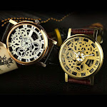 Roman Numerals Unisex Watch with Skeleton Designed Faux Leather Strap Analog Wrist Watch (Gold)