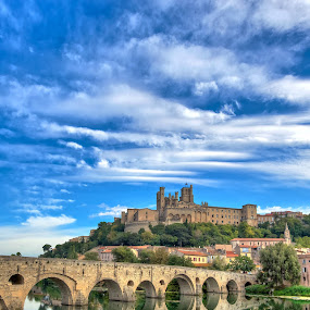 The Old Bridge at Beziers by Paul Atkinson - City,  Street & Park  Vistas ( old, languedoc, beziers, herald, stone, landscape, city, cathedral, france, bridge, odd, medieval, river )