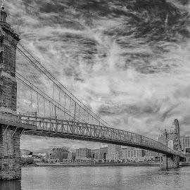 Bridge in Black and White by Richard Michael Lingo - Black & White Buildings & Architecture ( ohio, suspended structure, black and white, roebbling bridge, cincinnati, bridge )