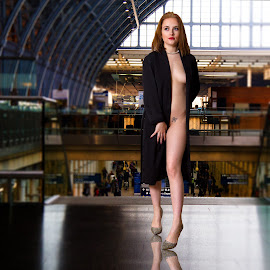 Half naked! by Mike Lloyd - People Fashion ( girl, station, public )