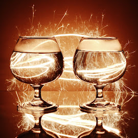 More sparkle and glass mess by Peter Salmon - Artistic Objects Glass ( glasses, trail, glass, glow, sparklers )