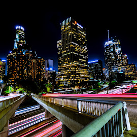 LA city by John Brock - Buildings & Architecture Office Buildings & Hotels ( lights, skyline, night photography, los angeles, long exposure )
