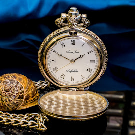 Watching Time by Len  Janes - Artistic Objects Still Life ( time, pocket, pocket watch, still life, time piece, snail )