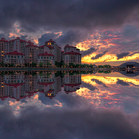 Sunrise @ Tanjong Rhu by Gordon Koh - Buildings & Architecture Homes ( clouds, reflection, riverfront, asia, dramatic sunrise, symmetry, travel, homes, singapore, tanjong rhu )