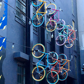 Up the wall, Melbourne  by Di Mc - Novices Only Objects & Still Life ( bicycles, bikes, melbourne, australia, art )