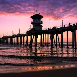 The Huntington Pier by Tim Davies - Buildings & Architecture Bridges & Suspended Structures ( purple, cali, waves, sunset, california, pier, ocean, huntington pier, beach, huntington beach,  )