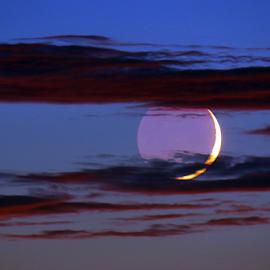 SUPER CRESCENT MOON by Gerry Slabaugh - Landscapes Starscapes ( super crescent moon, moon, crescent, starscapes, super moon )
