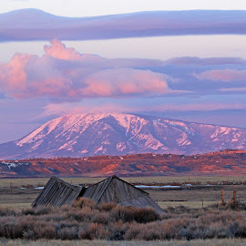 Morning Light by Kirby Hornbeck - Landscapes Mountains & Hills ( clouds, mountains, sunrises, sunsets, wyoming, buildings, landscapes )