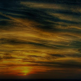 Painted sky by Janja R Sanja - Instagram & Mobile Android ( clouds, magic, sky, blue, sunset, lines, sun )