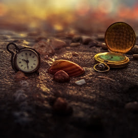 Tiking by John Georgiou - Artistic Objects Antiques ( sand, sea shells, dreamy, warm, vintage, clock, colorful, old watch, watch, colors, still life, dreamscape, art, beach, running, bokeh, sea shell, time, pocket watch, clock's, timing, classic, antiques, tik tok )