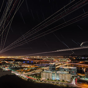 The Rhythm of the Urban Sky by Bryan Snider - City,  Street & Park  Night ( cityscapes, tempe, airplanes, urban landscapes, airspace, busy, cityscape, city, urban, mountains, sky, cities, arizona, buildings, city lights, light trails, phoenix,  )