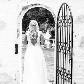 Bride by Molly Cunvik - Wedding Bride ( doorway, black and white, wedding, dress, bride )