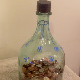 Saving For A Rainy Day! by Terry Linton - Artistic Objects Glass ( coins, green, jar, glass, flower drawing, currency )