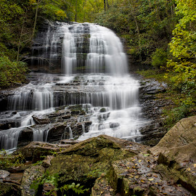 Pearsons Falls, North Carolina by John Wollwerth - Landscapes Waterscapes ( nobody, saluda, mountain, pearsons falls, america, time exposure, deciduous, waterfall, travel, leaves, usa, appalacian mountains, north carolina, nature, clean, autumn, wet, rocks, peaceful, spray, appalacian, lush, tourism, forest, woods, wilderness, cascade, beautiful scenic, falls )