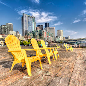 Seattle Waterfront by Lawayne Kimbro - City,  Street & Park  Historic Districts ( ©lawayne kimbro photography, skyline, chairs, seattle, ©kimbrophoto, buildings, pier, ocean, ©kimbro photography, yellow, cityscape, waterfront, city,  )