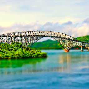 The San Juanico Bridge by Elmer Tendero - Buildings & Architecture Bridges & Suspended Structures ( water, tilt-shift, samar, pacific ocean, bridge, philippines, photoshop )