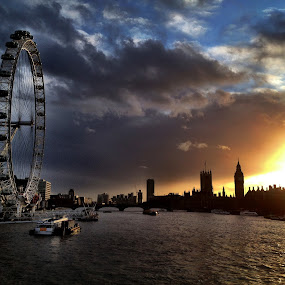 London  sunset I by Ludwig Wagner - Instagram & Mobile iPhone ( water, thames river, clouds, london eye, london, sunset, weather, bridge, big ben, boat )