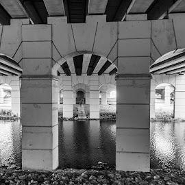 Under the Bridge by Andrew Stevenson - Buildings & Architecture Bridges & Suspended Structures ( roadway, bridge, black and white, architecture, arches )