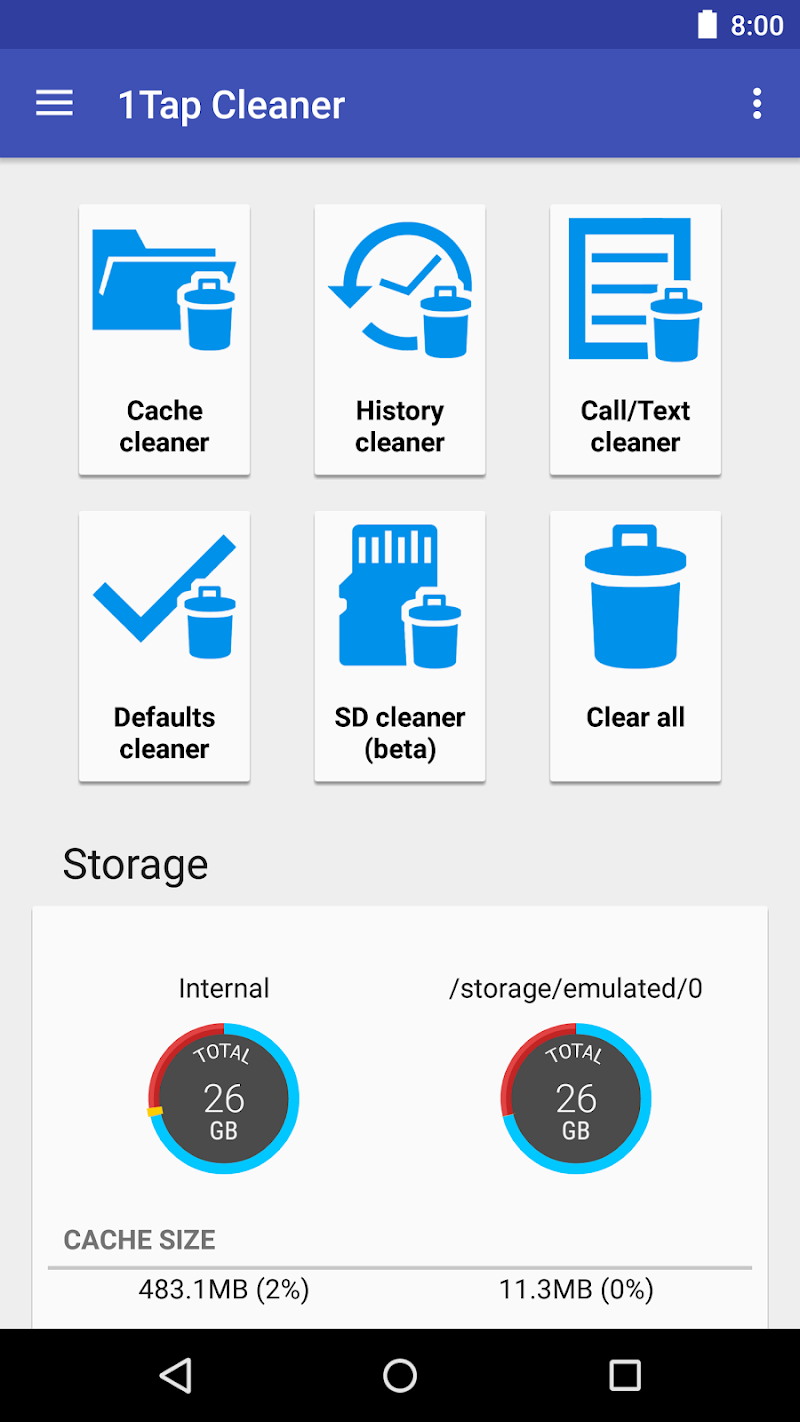1Tap Cleaner Pro (clear cache, history, call log) Screenshot 0