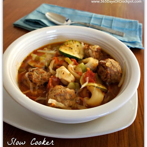 Slow Cooker Italian Meatball and Tortellini Soup