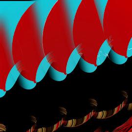 Red Sails  by Dorothy Plumb - Digital Art Abstract ( abstract, curve, abstract image, sails, stripes, stripe, curves, arcs, red, blue, arc, sail, black )