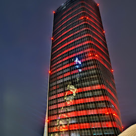 Red Tower by Luigi Girola - Buildings & Architecture Office Buildings & Hotels ( lombardy, milan, reflection, hdr, office building, cityscape, dusk, city, lights, tower, red, skyscraper, blue, shopping district, italy )