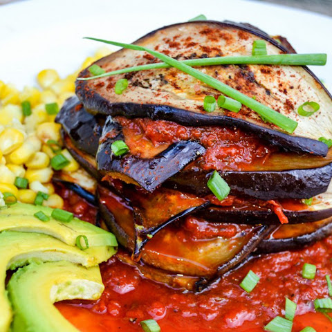 Grilled Eggplant Stack With Roasted Red Pepper Sauce [Vegan]