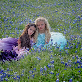 Friends by Carole Brown - Babies & Children Child Portraits ( little girls, brown eyes, blonde hair, gowns, blue eyes, bluebonnets, brown hair )