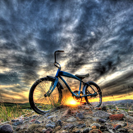 Blue Bike, Orange Sun by Eric Demattos - Transportation Bicycles ( clouds, eric demattos, sunset, blue bike )