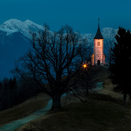 by Mario Horvat - Landscapes Sunsets & Sunrises ( mountains, church, sunset, snow, outdoor, jamnik, landscape )