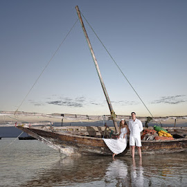 Fishing Boat by Andrew Morgan - Wedding Bride & Groom ( zanzibar, sunset, wedding, destinationwedding, travel, fishing, boat )