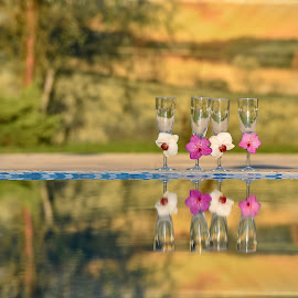 Wedding glasses by Sorin Lazar Photography - Artistic Objects Glass ( water, reflection, arrangement, glasses, nature, colors )
