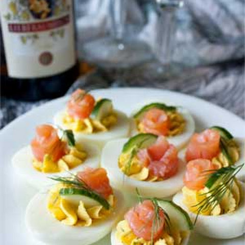 Eggs Stuffed with Smoked Salmon and Cucumbers
