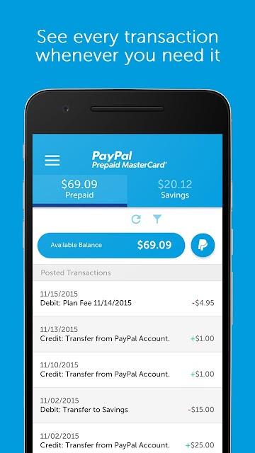 PayPal Prepaid screenshots