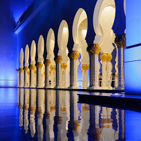 Grand Mosque by Sarath Sankar - Buildings & Architecture Architectural Detail ( religious, mosque, reflections, abu dhabi, architecture,  )