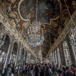 The Hall of Mirrors I Versailles by Dipmalya Chatterjee - Buildings & Architecture Public & Historical ( mirrors, hall, tourists, statues, versailles, architecture, hallway, palace, people )