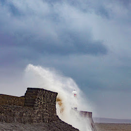 splash by Brett Taylor - Novices Only Landscapes ( breakwater, waves, porthcawl, sea, high tide )