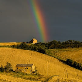 Rainbow on the Hills by Emanuele Zallocco - Landscapes Mountains & Hills
