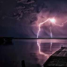 Thor's Trident by Drew May - Landscapes Weather ( water, clouds, canon, 5d mk ii, canada, alberta, landscape images, lakes, sigma 35mm f1.4, storm, drewmayphoto, sky, lighting, lac st. anne, lightin, rain,  )