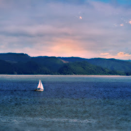 Sail away with me  by Tristen Leck - Transportation Boats ( oregon, ocrean, sunset, sailboat, astoria )