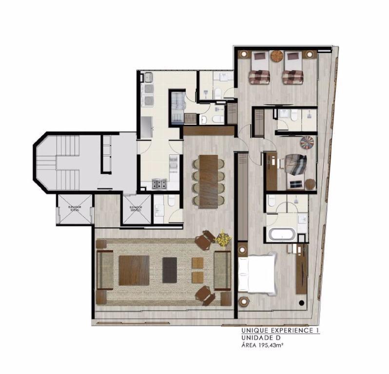 Planta Unidade D - 195 m²