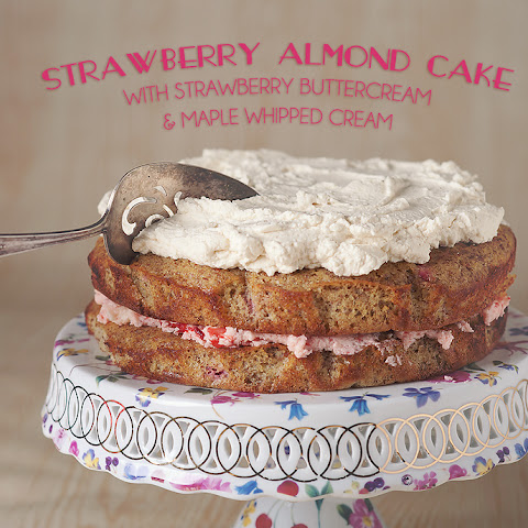 Gluten-free Strawberry Almond Cake With Strawberry Buttercream And Maple Whipped Cream