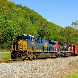 Run Through Power by Rick Covert - Transportation Trains ( springtime, railroad, locomotive, arkansas, trains )