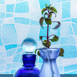 Study in Blue by Anatoliy Kosterev - Artistic Objects Glass ( blue, still life, glass, translucent, bottles )