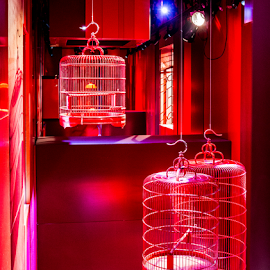 Chinese bird cages by Vibeke Friis - Artistic Objects Furniture ( red, bird cages,  )